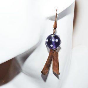Vintage Earrings Copper Art Glass 1970's Modernist